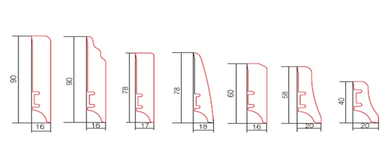 Виды профилей Barlinek 40 мм 58 мм 60 мм 78 мм 90 мм